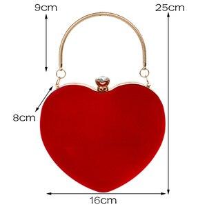 Image 3 - SEKUSA Velluto acrilico diamanti a forma di cuore rosso/nero borse da sera mini borsa della frizione con la catena della spalla del sacchetto di sera per da sposa