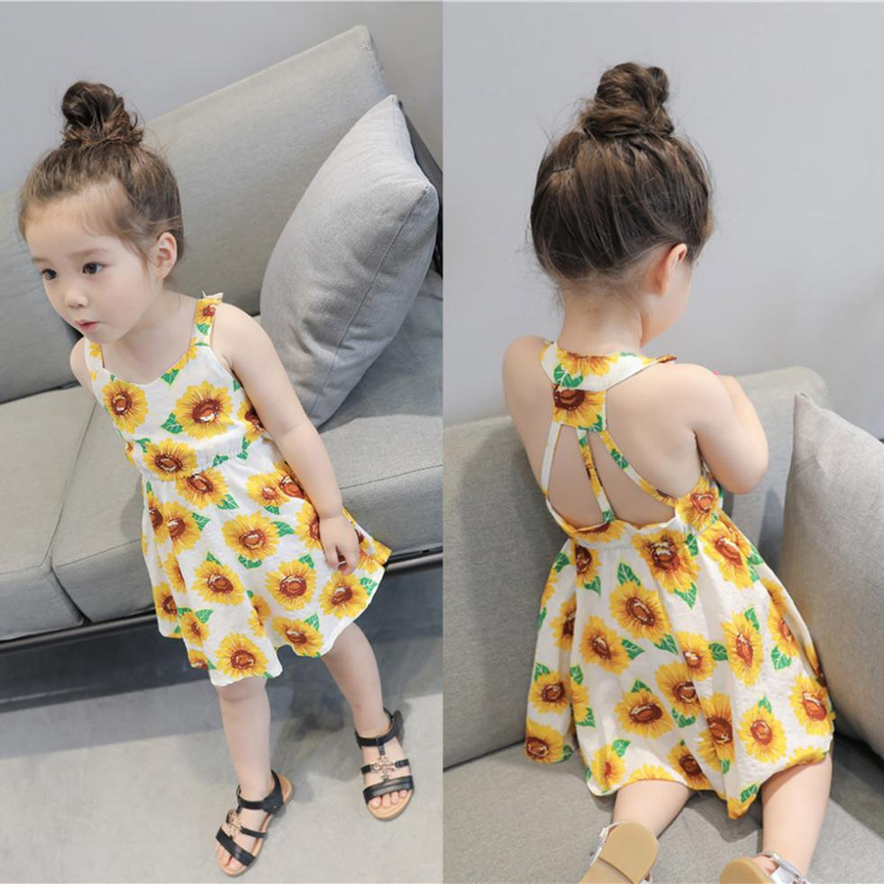 New Design Cute Infant Baby Girls Sunflower Print Sleeveless Backless Floral Dress Outfits Comfortable Touch High Quality Gift