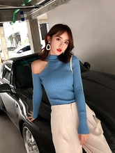 Women Pullovers Sweater 2019 Knitting Autumn Winter Turtleneck Sexy Hollow Out Off Shoulder Casual Ladies Tops