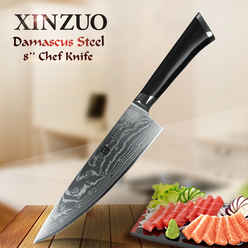 XINZUO 8 inch Chef Knife 73 Layers Damascus Stainless Steel Sharp Kitchen Knife Cooking Tool Chef