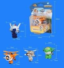 Super Wings Mini Airplane ABS Robot Mainan Aksi Angka Super Wing Transformation Jet Animasi Anak-anak Hadiah Brinquedos