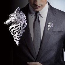 Fashion Retro Wolf Head Brooch Domineering High-End Unisex Wolfhead Brooch Ladies Men's Animal Suit Collar Pin Buckle Jewelry недорого