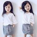 Chicas de ropa nueva de las muchachas del verano blanco Top + Skirt Plaid 2-7Ages niños ropa niñas conjunto 2016 marca muchacha del niño ropa