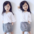 Girls Clothes New Girls Summer Clothes White Top + Plaid Skirt 2-7Ages Kids Clothes Girls Set 2016 Brand Toddler Girl Clothing