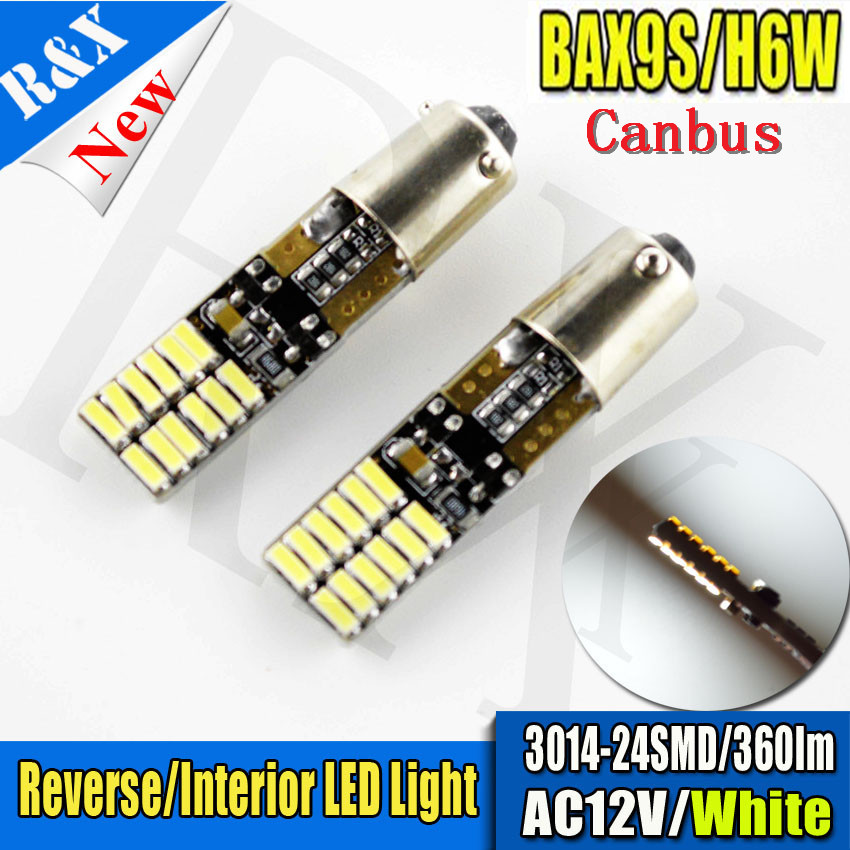 2/4/10/50pcs/lot Error Free BAX9S H6W Canbus bulb 3014 SMD 24 LED REVERSE SIDE WIDE INDICATOR White Light Bulbs AC DC 12v 2pcs brand new high quality superb error free 5050 smd 360 degrees led backup reverse light bulbs t15 for jeep grand cherokee