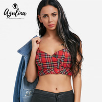 AZULINA Zip Up Plaid Cami Top Strap Camisole Tank Top 2018 Summer Women Casual Cropped Top