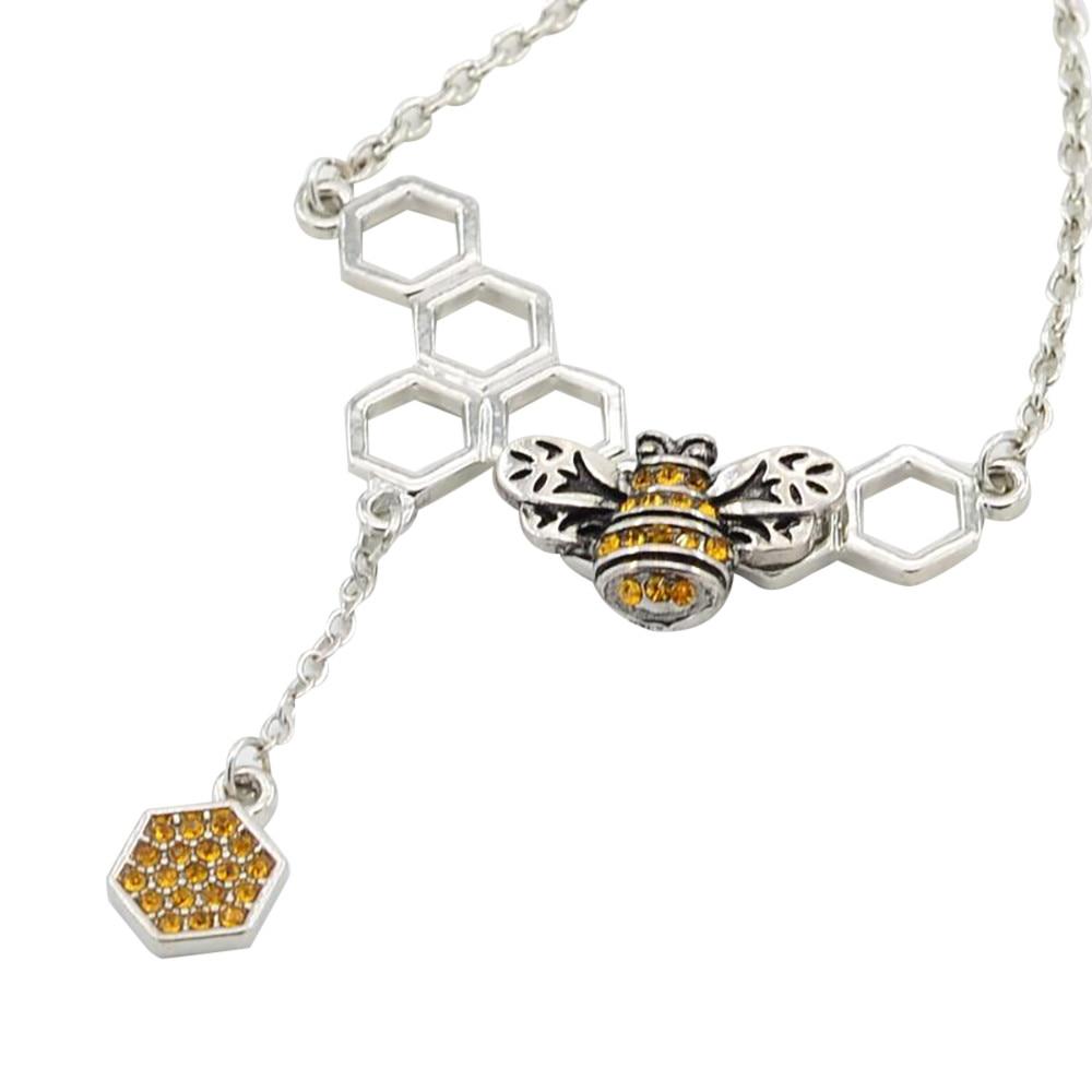2018 women u0026 39 s honeycomb honeybee pendant statement crystal rhinestone necklaces women jewelry