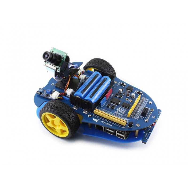 AlphaBot Smart Car Raspberry Pi Robot Building Kit with Raspberry Pi 3 Model B + AlphaBot + Camera with US/EU Power Adapter waveshare raspberry pi robot building kit include raspberry pi 3b alphabot rpi camera ir control line tracking speed measuring
