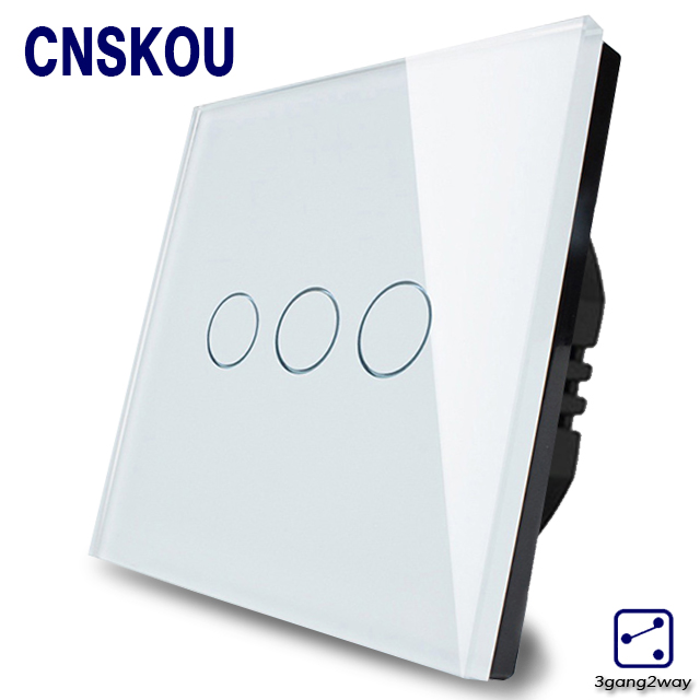 2016 Hot sale home automation remote control  touch switch wall switched EU standard 3gang 2way white crystal glass panel smart home eu touch switch wireless remote control wall touch switch 3 gang 1 way white crystal glass panel waterproof power