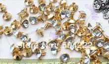 500 комплектов Сделай Сам 10 мм Стразы с золотым оттенком crystal