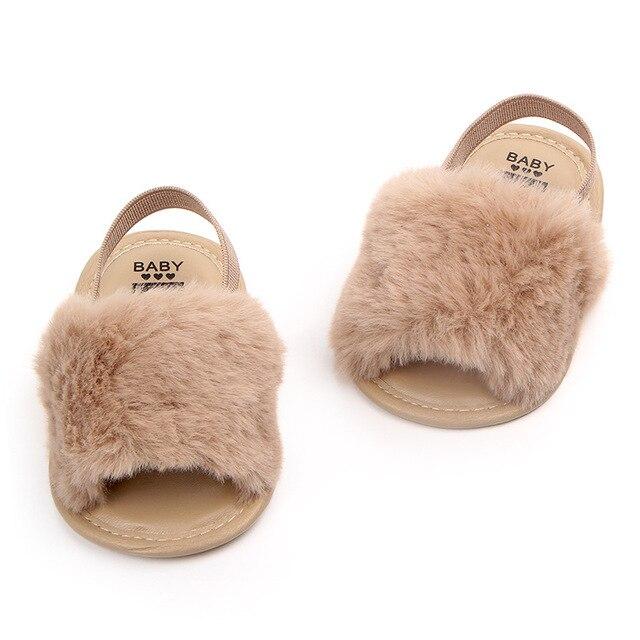 9002dce2ee35d 2019 nouvelle mode fausse fourrure bébé été chaussures mignon infantile bébé  sandales garçons filles pantoufles gris