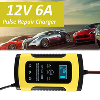 12V 6A Pulse Repair Charger with LCD Display, Motorcycle & Car Battery Charger, 12V AGM GEL WET Lead Acid Battery Charger