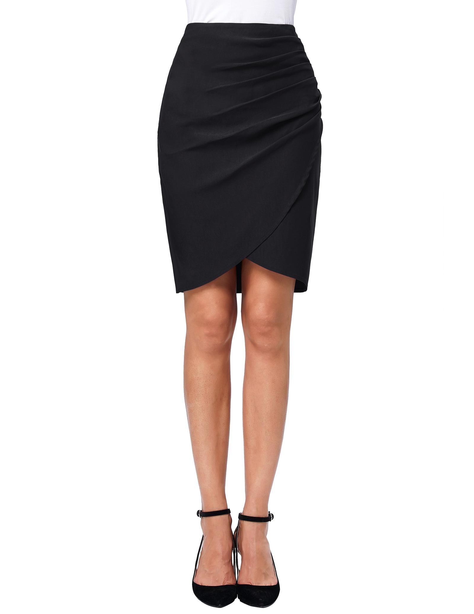 stock elegant red Black skirt Women Irregular Hem High Stretchy Pleated Hip Wrap Skirt sexy retro luxury celebrity work skirts