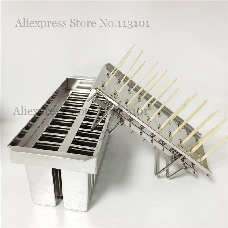 20pcs/batch Ice Pop Mold Popsicle Molds Ice Cream Tool FULL Stainless Steel Great Summer Gift With Sticks Holder stainless steel ice pop popsicle moulds commercial diy ice cream mold brand new 20pcs batch sticks holder