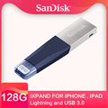 SanDisk PenDrives 32GB 128GB USB Flash Drive 64GB 16GB Usb Flash 3.0 Dubbele Interface Voor IPhone IPad APPLE MFi