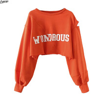 Orange Letter Print Hollow Out Long Sleeve Cropped Sweatshirt Women Drop Shoulder Round Neck Ripped Hem