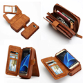 Brg marca bolsa caja del teléfono de cuero para samsung galaxy s7 s7 edge s5 s6 s6 edge caso s6 edge plus cremallera bolso monedero de la cartera