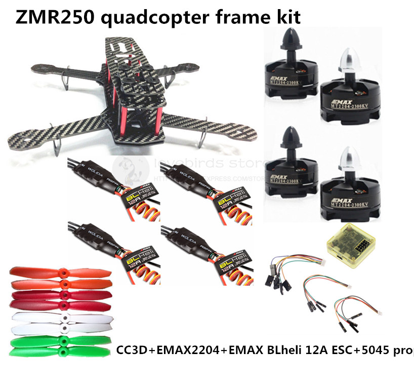 DIY QAV250 / ZMR250 quadcopter FPV mini drone pure carbon frame + EMAX power kit RUN with 3S / 4S / oneshot125 4S lipo creative workshops 4s iphone6 diy plus