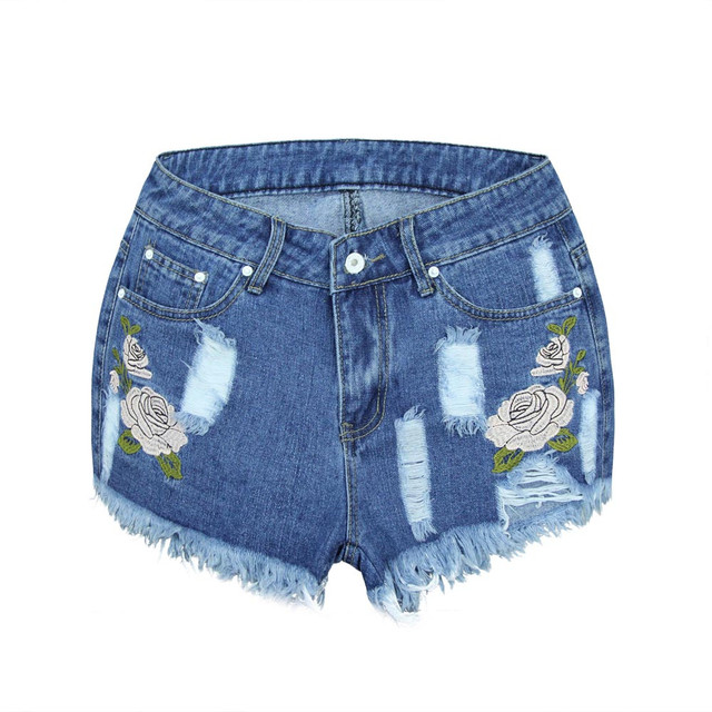 2017 Fashion Embroidery Denim Shorts Floral High Waist Jeans Short Femme Frayed Hole Shorts For Women Plus Size Summer Shor 327