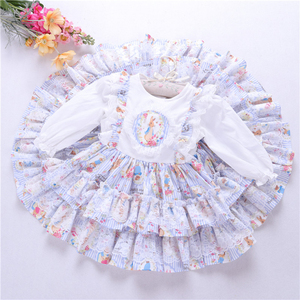 Image 2 - spring baby girls dresses rufles long sleeve spanish vintage lolita rabbit bunny kids outfit childrens clothing boutiques