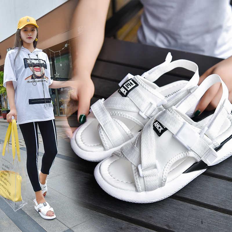 2019 Novas Mulheres de Verão Sandálias de Praia Feminino Vermelho Tênis de Ginástica Do Esporte Sapatos Falt Aleta Flop Chinelos Sandalias Croc River Plate mujer