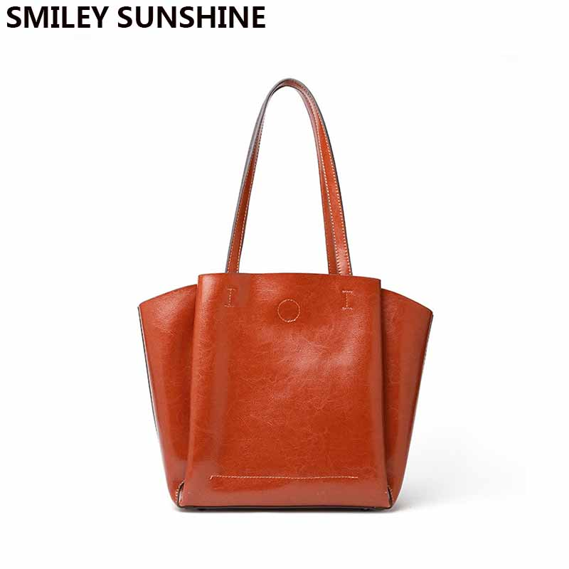 SMILEY SUNSHINE 2018 new fashion soft genuine leather female shoulder bag ladies tote big capacity luxury