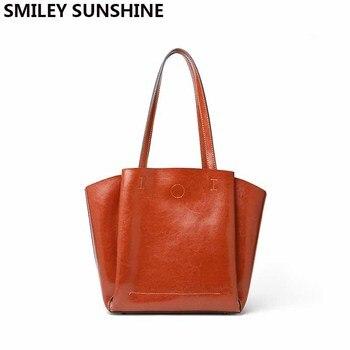 61f283942437 Smiley sunshine 2018 новые модные мягкая натуральная кожа женская сумка  большая емкость роскошные женские кожаные сумочки