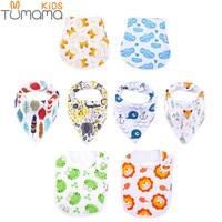Tumama 8pcs Baby Cotton Bibs Animal Bandana Babador Feeding Smock Infant Burp Cloths Cartoon Saliva Towel Baby Eating Accessory