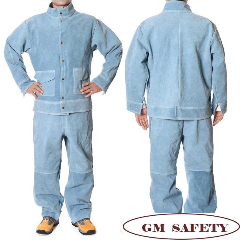 Image 3 - Cow Leather Electric Welding Work Clothes Cowskin Suit for Welders Soldering Protective Work Jackets Men  NL001-in Safety Clothing from Security & Protection