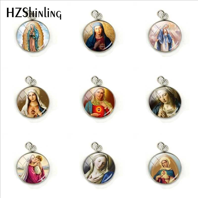 2019 New Vintage Virgin Mary Jewelry Pendants Our Lady of Guadalupe Jewelry Glass Dome Stainless Steel Charms for Gifts