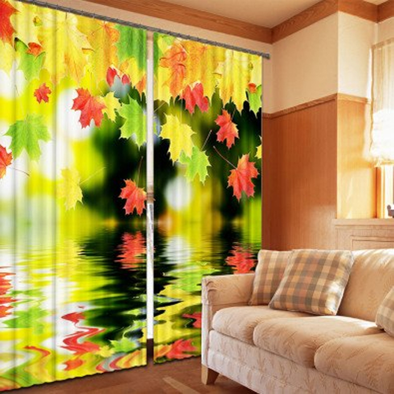 Yellow Green Leaf Maple Print 3D Blackout Window Curtains For Bedding Room  Living Room Hotel Drapes