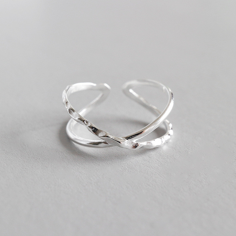 Jsmpfy New Simple Design 925 Sterling Silver X Shape Open Rings Geometric Big Cross Finger Ring For Women Gifts Bagues