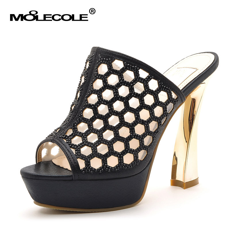 MOLECOLE 2016 new women sandals Hollow out platform heels slippers woman platform wedges summer shoes pumps woman flip flops xiaying smile woman sandals shoes women pumps summer casual platform wedges heels buckle strap flock hollow rubber women shoes