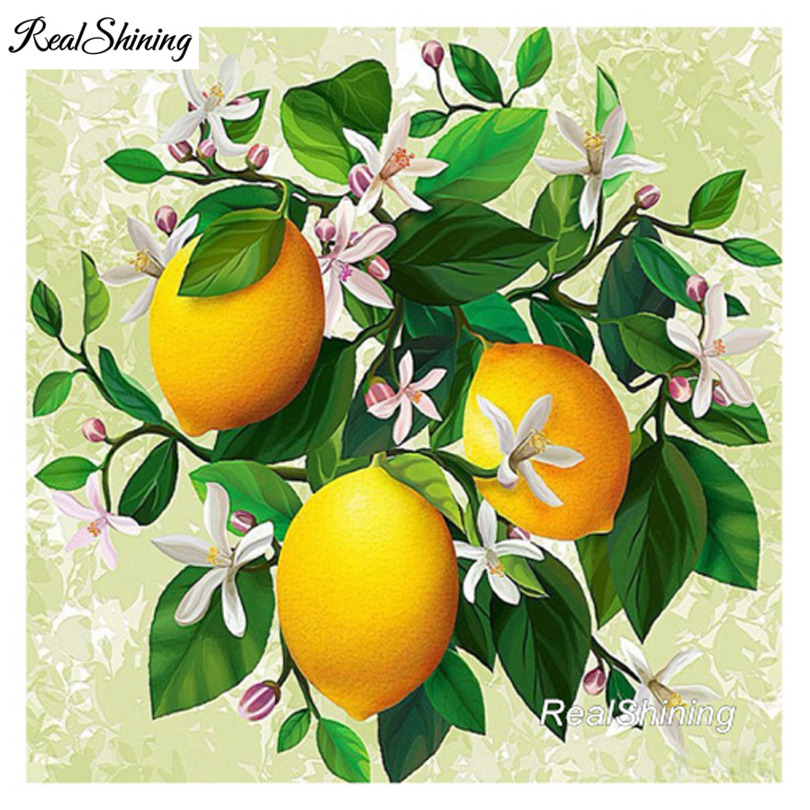 REALSHINING Orange Tree Full Square 5d Diy Diamond Painting Cross Stitch Diamond Embroidery Mosaic Pattern Needlework DM908