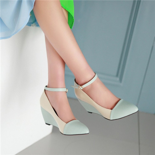Fashion Office Ladies New Pointy Toe Ankle Strappy Womens Wedge Heel Shoes Female Contrast Color Mary Janes Pumps Plus Size clearance amazing price cheap authentic outlet factory outlet 2014 for sale from china free shipping cDN92