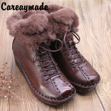 Careaymade-Winter New Genuine Leather cowpearson women's retro literary and artistic lazy rabbit collar leisure handmade boots