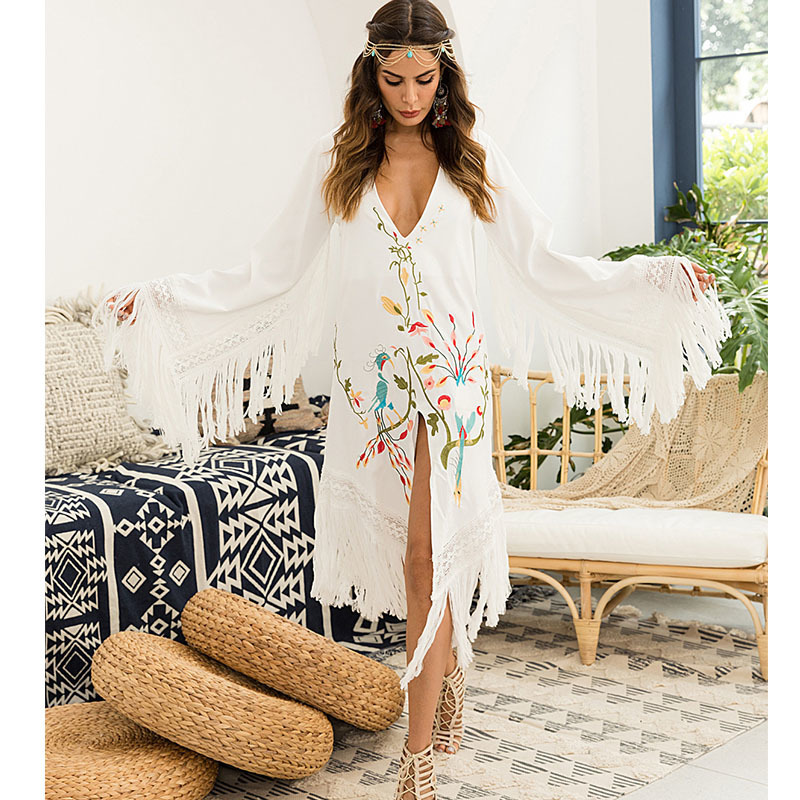 2018 Autumn vintage Embroidery With Flowers Tassels white dress V Lead casual long sleeve fringe woman clothes vestido vestidos