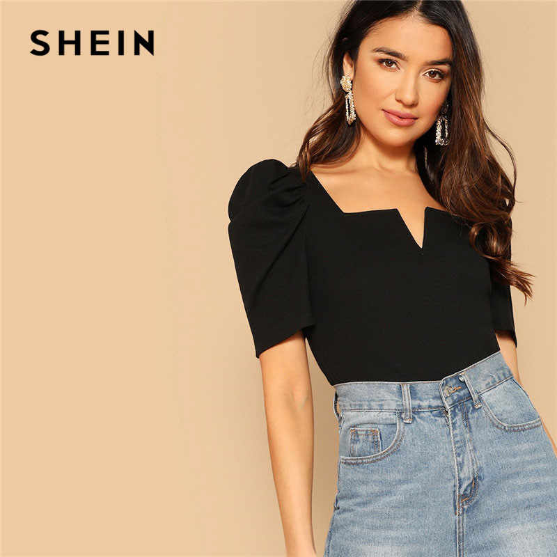 SHEIN สุภาพสตรีสีดำ V-ตัดด้านหน้าพัฟแขนสั้น 2019 ฤดูร้อนผู้หญิง Elegant Streetwear คอ Slim Fit Tees