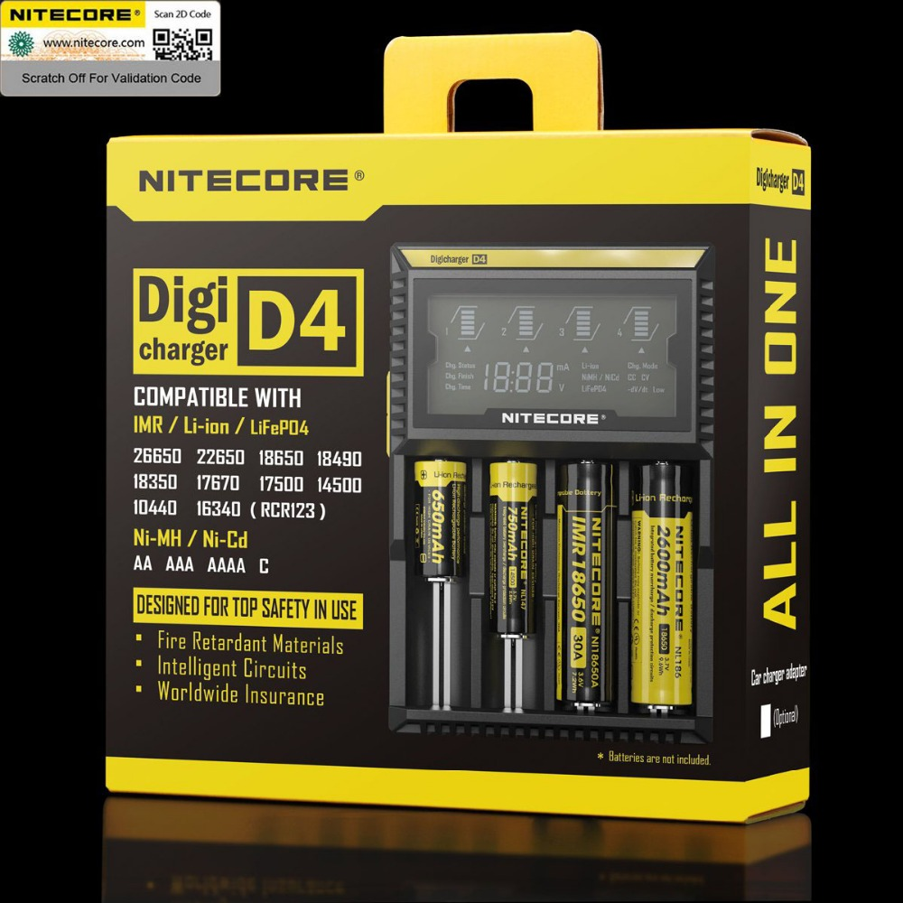 2 pieces 100 Original Nitecore D4 Battery Charger LCD Intelligent Charger Li ion 18650 14500 26650