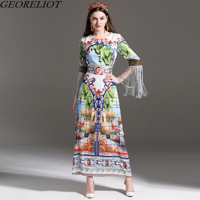 871bed1c19 Runway Designer Long Maxi Dress 2017 New Brand Fashion Women Vintage Print  Tassel Sleeve Beach Party Dresses Vestidos De Festa