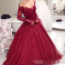 2019 Burgundy Off The Shoulder Long Sleeves Lace Ball Gown Evening Dresses Applique Beaded Floor Length Party Prom Evening dress
