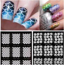 2016 Nueva 1 hoja de uñas vinilos Irregular stamping nail plantilla stencil pegatinas etiqueta engomada del clavo hueco guía de herramientas de manicura
