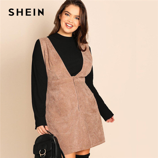 35f03d363869d SHEIN Plus Size Coffee Color Preppy Style Women A-Line Straps Pinafore  Corduroy Dress 2019 New Spring Knee Length Dresses