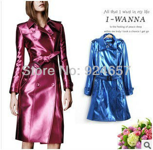 Free shipping The new Autumn/winter 2013Women's Pink Blue Trench Coat  Double-Breasted Trench Coat,Fashion fluorescent  PU Coat