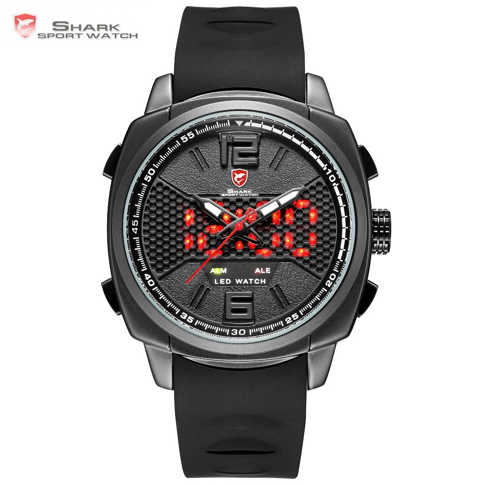 Cool New Whitetip Reef Shark Sport Watch LED Dual Time Zone Date Alarm Top Brand Silicone Quartz-Watch Relogio Masculino / SH486