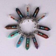 Natural 7 Colorful Stone Beads Reiki Chakra Healing Pendulum Pendant Charms Flat Point Amatista Turquoise Crystal Amulet Pendant