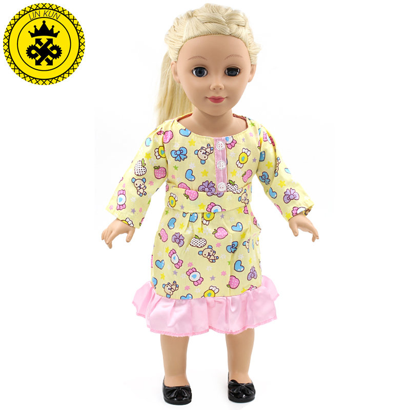Multicolor Prints Ruffle Doll Dress American Girl Dolls Accessories Clothes Dress for 18 inch American Girl Doll Party MG-071 handmad 18 inch american girl doll clothes princess anna dress fits 18 american girl doll mg 032
