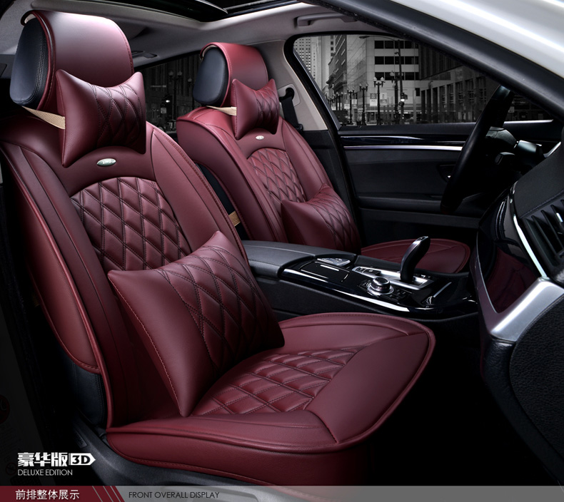 Luxury Red Black Waterproof Firm Diamond Pu Leather Car Seat