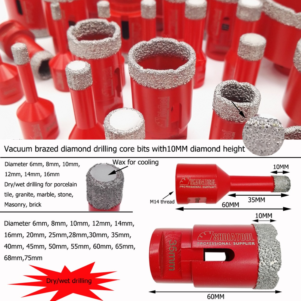Купить с кэшбэком SHDIATOOL M14 Vacuum Brazed Diamond Drilling Core Bit Tile Drill Bit Marble Hole Saw Porcelain Drilling Bit Bell Saw Crown