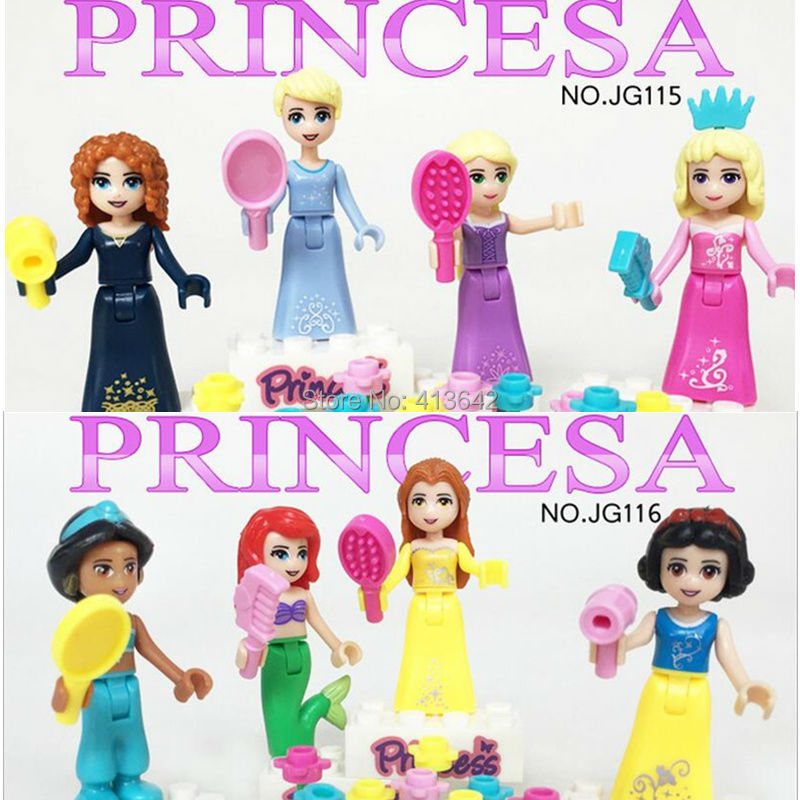 8pcs Friends Music Party Action Figures Building Block figures Gift Toys Compatible Legoed Princess Friends For Girl